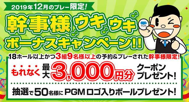 3組9名様以上でPGM Webから予約&プレーされた予約代表者様にプレー1回につき、もれなく最大3,000円分のクーポンをプレゼント! さらに抽選で50名様にPGMロゴ入りボールをプレゼント!