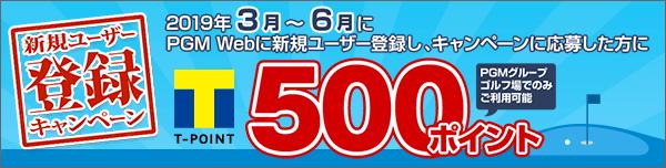 新規ユーザー登録キャンペーン(2019年3月~6月) もれなく期間固定Tポイント500ポイントプレゼント!