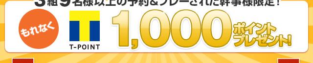 3組9名様以上の予約&プレーされた幹事様限定!もれなくTポイント最大3,000ポイントプレゼント!!