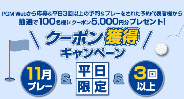 11月平日限定 クーポン獲得キャンペーン 抽選で100様にクーポン5,000円分プレゼント!