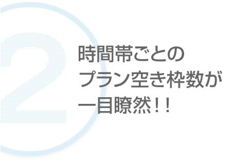 【ポイント2】時間帯ごとのプラン空き枠数が一目瞭然!!